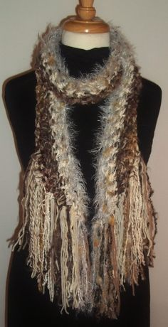 Warm Brown Scarf Crochet Shawl Fringes Beige Tan by LAinstitches, $42.00...Love Love !!