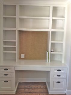 Built in desk with display shelving from a bowl full of simple