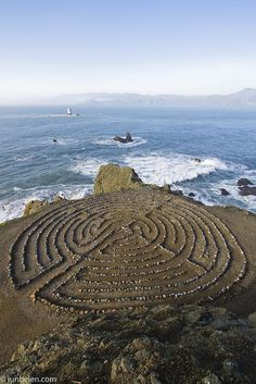 The labyrinth at the Land's End trail, Outer Richmond was created by a local artist. The trail has spectacular views of the Golden Gate Bridge,