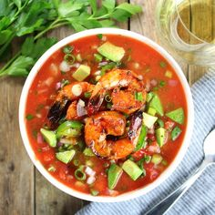 Classic Gazpacho with Spicy Grilled Shrimp - w jalapenos, cucumbers, red peppers, shallots, & tomatoes. Low-carb, gluten-free, dairy-free, Paleo.