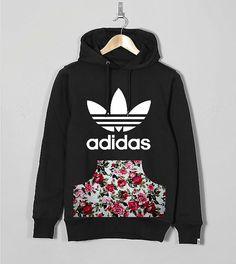 Unisex Authentic Adidas Originals Custom Cut   Sew floral chic roses pouch  pocket hoodie Adidas Trefoil d79f878745