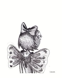 Black and white ink sketch 8x10 print little girl by Cadouxdle