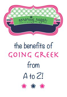 The sorority sugar blog celebrates being greek from bid day to grad day… and beyond! There are so many benefits to joining a sorority, it's difficult to name them all. But these are some TOP reasons to give recruitment a try! <3 BLOG LINK: http://sororitysugar.tumblr.com/post/91480668164/the-benefits-of-going-greek-from-a-to-z#notes