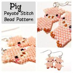 Pig Seed Bead Patterns Peyote Stitch DIY beaded by BeadCrumbs