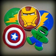 Avengers birthday party cookies!