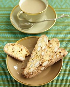 Lemon zest and crystallized ginger give a refreshing bite to these biscotti, while whole almonds add crunch. The secret to cutting cleanly through biscotti is to use a very sharp serrated knife. Holiday Baking, Christmas Baking, Christmas Cookies, Lemon Biscotti, Cookie Desserts, Dessert Recipes, Spice Cookies, Biscotti Cookies, Gourmet