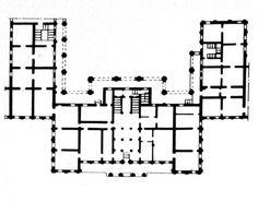 Plan Initial du Palais Menchikov - 15 Quai de l'Université - Saint Petersbourg - Construit entre 1710 et 1714 pour le Prince Menchikov, grand ami de Pierre le Grand par les architectes DM Fontana et Johann Gottfried Schedel. Après la confiscation des biens de Menshikov, le bâtiment est agrandi par Giuseppe Trezzini de 1730à 1740 pour le Premier Corps des Cadets.