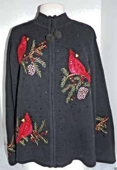 Tiara Womens Christmas Sweater Black Zip-up Cardinals Beads Sequins Size L #Tiara #CardiganZipperfront
