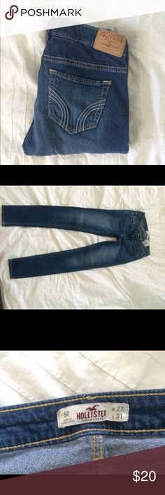 Hollister Straight Leg Jeans Medium wash. As you can see, they have been worn a few times but overall they are in GREAT condition! They're kind of on the skinny side rather than straight leg but not super skinny fit. I ACCEPT OFFERS!!! :) Hollister Jeans Straight Leg