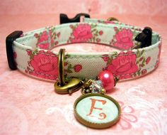 Dog collar - Small mini  dog collar - Personalized Initial Charm with Pink Roses on an Aqua Background. $13.00, via Etsy.