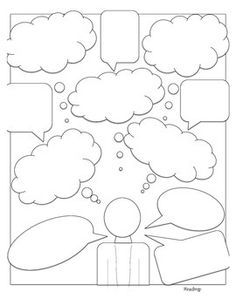 Character Analysis/Perspective Thought Bubbles Common Core This is a great graphic aid to use when teaching about character motivaton, perspectives, and viewpoints. It lends itself to any subject. It could be used in a biograhpy unit as well. Writing Strategies, Comprehension Strategies, Math Notebooks, Interactive Notebooks, Mind Map Art, Bullet Journal Stencils, Comic Book Template, Thought Bubbles, Art Therapy Activities
