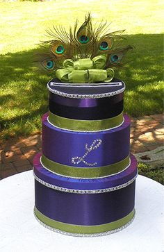 """Peacock card box. since you love purple and green...you could make your cake like this? @Naomi Klueg"""