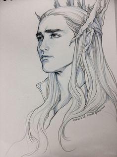 Thranduil, The Hobbit. Drawing by Evankart. #Art