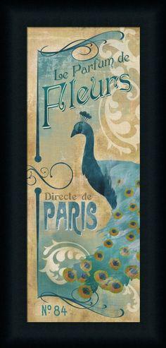 Le Parfum de Fleurs Vintage Peacock Framed Art Print Wall Décor Picture #FramedArtbyTilliams
