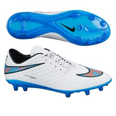 Nike Hypervenom Phantom FG Soccer Cleats (White/Total Crimson/Blue Lagoon). Get your new pair of soccer boots today at SoccerCorner.com!