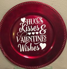 Valentine Plate Hugs & Kisses and Valentine Wishes