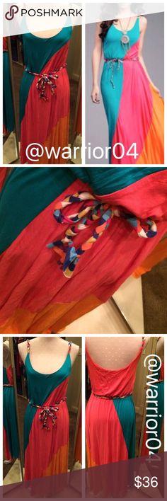 Tri -Colored Gorgeous Bohemian Dress NWOT Tri -Colored Gorgeous Bohemian Dress NWOT one Size includes Colored matching Belt Boutique Dresses