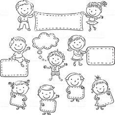 Ten happy cartoon kids, black and white outline. Doodle Drawings, Easy Drawings, Doodle Art, Cartoon Pencil Drawing, Pencil Drawings, Happy Cartoon, Cartoon Kids, Drawing For Kids, Art For Kids