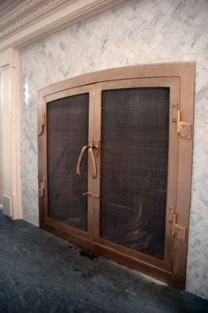 Extra fancy forged bronze fireplace screen by BMW Ironworks. Decor, Custom Fireplace, Custom Fireplace Screens, Fireplace Doors, Home Decor, Screen, Bronze, Doors