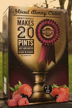 Victors Mixed Berry Cider kit , 20 pints in 10 days Home Brew Beer Kits, Beer Brewing Kits, Home Brewing, Cider House Rules, Brewing Equipment, Pints, Mixed Berries, 10 Days, Whiskey Bottle