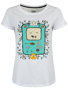 Looking as cute as a button, BMO's sleeping 8- bit face has been surrounded by floral patterns, giving this tee a feminine feel. From Adventure Time, this design features BMO's best buds Jake and Finn drawn in an endearing sketchy style. As their trusty companion, the living games console has so many uses; from making toast to strobe lighting, they're definitely paying tribute and showing their love for the real-life gadget.