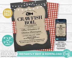 Crawfish Boil Invitations Party Invite Couple's Shower DOWNLOAD Red Chalk Lobster Engagement Couple's Shower Crab Dinner Printable WCWE033 Printing Websites, Printing Services, Online Printing, Party Invitations, Engagement Invitations, Invite, Couple Shower, Wow Products, Letter Size