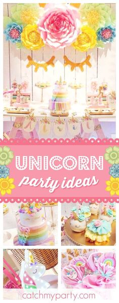 Take a look at this gorgeous Unicorn birthday party! The dessert table and backdrop are stunning!! See more party ideas and share yours at CatchMyParty.com #unicorn #girlbirthday
