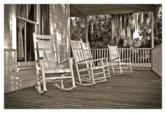 Rocker on porch, glass of iced tea, add family and friends, stir gently with breeze.