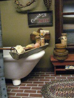 Bath Tub TRAY Dollhouse Miniature Soap by MiniatureCabinDecor