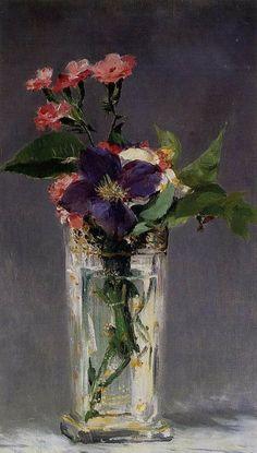 Eduard Manet, Oeillets et clematite dans un vase de cristal