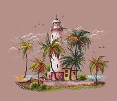 Embroidery Art, Cross Stitch Embroidery, Embroidery Patterns, Cross Stitch Designs, Cross Stitch Patterns, Cross Stitch Sea, Cross Stitch Tutorial, Cross Stitch Landscape, Le Point
