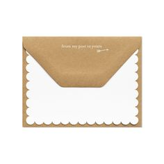 "Sugar Paper letterpress. Pretty kraft envelope with ""from my post to yours"" with white scalloped note card."