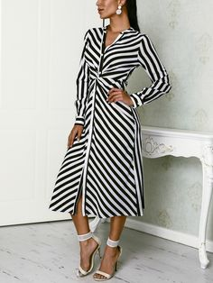 Shop Casual Dresses Contrast Stripes Button Up Ruched Shirt Dress African Fashion Dresses, African Dress, Fashion Outfits, Womens Fashion, Ladies Fashion, Fashion Night, The Dress, Dress Skirt, Blouse Dress