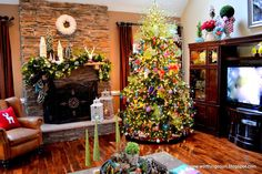 Christmas tree, mantle and decor via Worthing Court blog