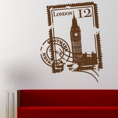 """Style and Apply London Stamp Wall Decal Size: 31"""" H x 24"""" W, Color: Royal Blue"""