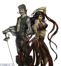 Fable 2. Village Gypsy Character Concept Art.