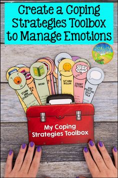 """Use this coping strategies toolbox lesson to teach about coping skills kids and teens need. Learners will make their own individualized """"toolbox"""" filled with strategies that work for THEM! #pathway2success College Activities, Counseling Activities, School Counseling, Therapy Activities, Math Activities, Social Work, Social Skills, Teaching Mindfulness, Classroom Helpers"""