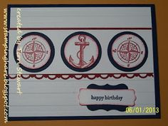 StampingHare.blogspot.com..... features Stampin' Up! The Open Sea stamp set, scallop trim border punch, curly label punch, and stripes embossing folder for a masculine card any dad would be happy to receive on his birthday or father's day. #dad #fathersday #diy #stampinup #birthday