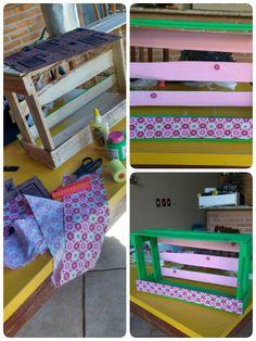 Customizando caixote de feira com tecido pra dar um charme!