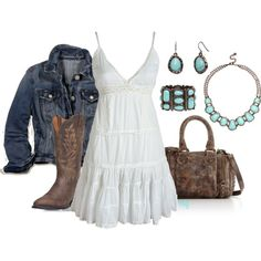 """""""dusty"""" by fluffof5 on Polyvore Country Fashion, Country Outfits, Country Chic Dresses, Rustic Outfits, Country Girl Style, Country Dresses With Boots, Roupas Country, Look Com Vestido, Fashion Mode"""