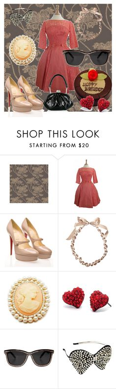 """""""18 CANDLES"""" by queenie4ever ❤ liked on Polyvore featuring Graham & Brown, Christian Louboutin, Lanvin, Fantasy Jewelry Box, Alexander Wang, Lulu Guinness, Dolce&Gabbana, vintage inspired and cameos"""