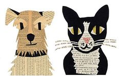 Simple and fun kids paper craft ideas: dogs and cats appliques from newspapers — DIY is FUN Newspaper Collage, Newspaper Crafts, Dog Crafts, Paper Crafts For Kids, Arte Elemental, Cat Applique, Fu Dog, Ecole Art, Paper Embroidery