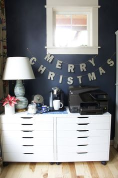 German Merry Christmas Glitter Garland - Pottery Barn - The Inspired Room Navy Office Coffee Station