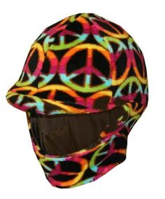 Fleece Equestrian Riding Helmet Cover - Peace by Helmet Covers Etc.. $27.95. Velcro closure gives a snug fit around the neck.. 100% Polyester. Machine Washable, dry on low heat.. Available in two sizes: Adult or Kids. Warm Fleece covers are designed to fit over your riding helmet.. Winter fleece covers go over your riding helmet and wrap around your neck to help keep you warm during those chilly rides!