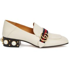 Gucci Off white faux pearl leather loafers (12.453.480 IDR) ❤ liked on Polyvore featuring shoes, loafers, leather slip on loafers, gucci shoes, slip-on loafers, gucci loafers and square toe shoes