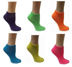 VH Apparel - All Mixed Up - Kids 6-Pair Pack Of Neon Ankle (Anklet) Socks - One size fits most - Fluorescent colors $9.99