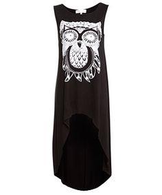 Black (Black) Cameo Rose Black Owl Dip Hem Top | 265864401 | New Look