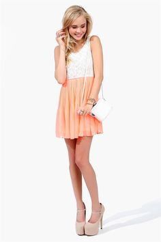 Pearly Girl Dress - Neon Coral