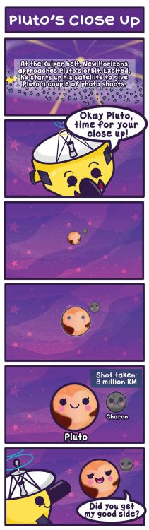 Late night bonus comic!New Horizons decided to give Pluto a photoshoot while approaching our favorite icy dwarf planet!http://www.bbc.com/news/science-environment-33459476http://www.wired.com/2015/07/new-horizons-latest-image-reveals-features-charon/
