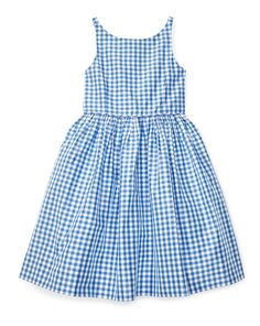 Sleeveless Gingham Silk Dress - Girls 2-6X Dresses - RalphLauren.com